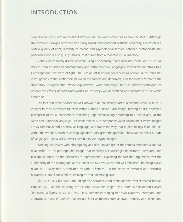 SARAH DOBAI, Photographs & Film Works, Kettles Yard, Introduction Page 3  Introduction, 2006
