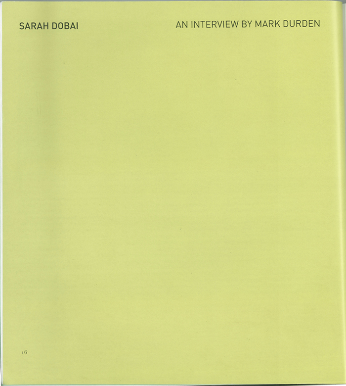 SARAH DOBAI, Source Interview Cover, 2010