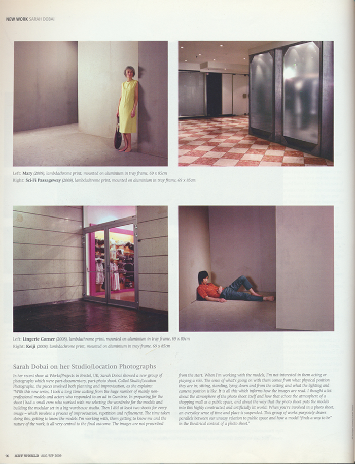 SARAH DOBAI, Art World Article New Work Article Page 3, 2009